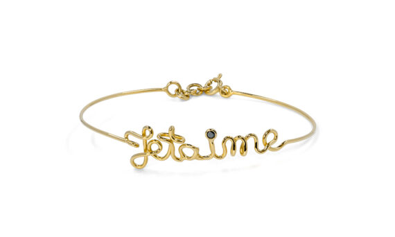 By Elia Je t'aime bracelet mounted on yellow gold with a black diamond