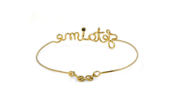 By Elia Je t'aime bracelet mounted on yellow gold