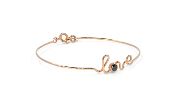 By Elia Love bracelet mounted on rose gold with a black diamond