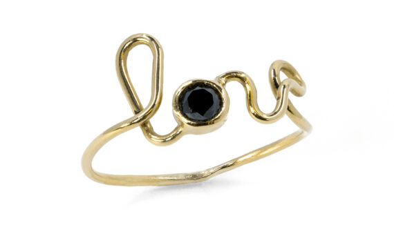 By Elia Love ring mounted on 18ct yellow gold with a black diamond