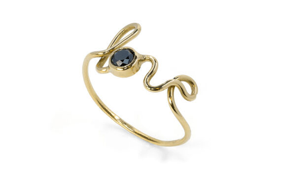 By Elia Love ring mounted on 18ct yellow gold with one black diamond