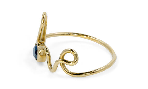 By Elia Love ring mounted on 18k yellow gold with one black diamond