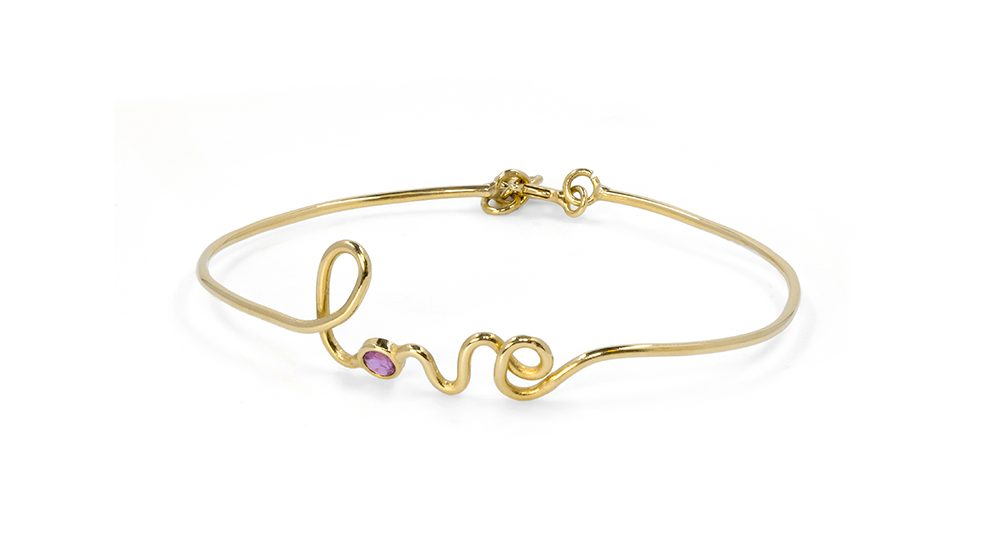 Love yellow gold ruby bracelet