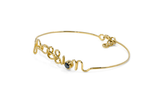 By Elia Passion bracelet mounted on 18ct yellow gold with a black diamond
