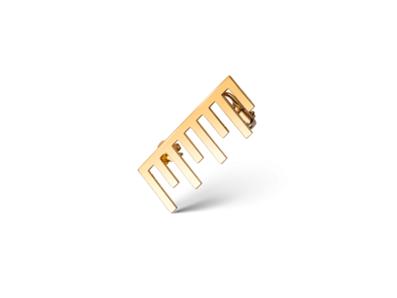Claudia Oddi Gold earring mounted on yellow gold