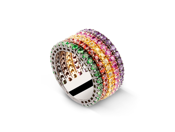 Claudia Oddi Multicolor ring mounted on gold