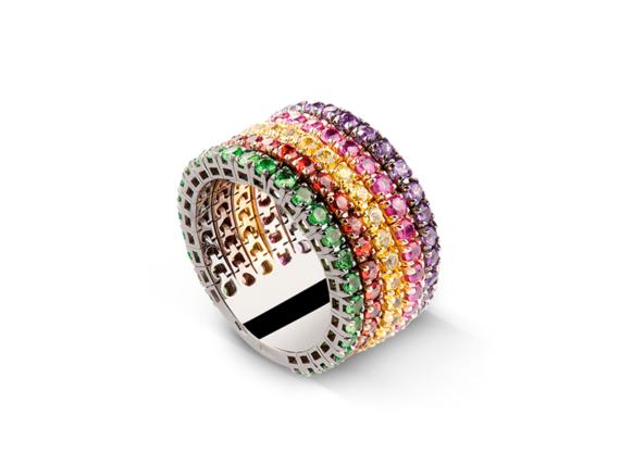Claudia Oddi Multicolor ring mounted on gold