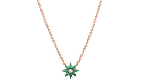 Colette Jewelry Star collier or rose 18ct malachite