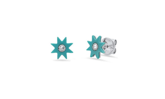 Colette Jewelry 18KT White Gold Turquoise Star Studs