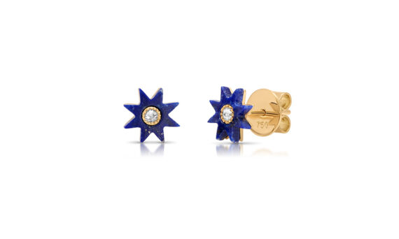 Colette Jewelry 18KT Yellow Gold Lapis Star Studs