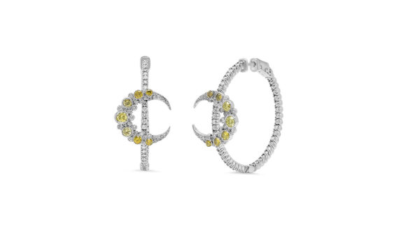 Colette Jewelry Hilo moon earrings mounted on white gold with yellow and white diamonds