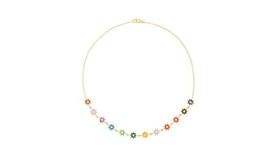 Colette Jewelry Multi-colored Enamel necklace mounted on yellow gold