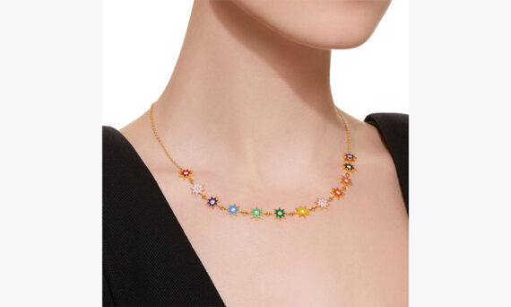 Colette Jewelry Multi-Colored Enamel necklace yellow gold