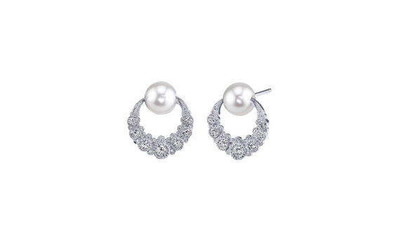 Colette Jewelry Orbiting Moon earrings mounted on white gold with diamonds and pearls