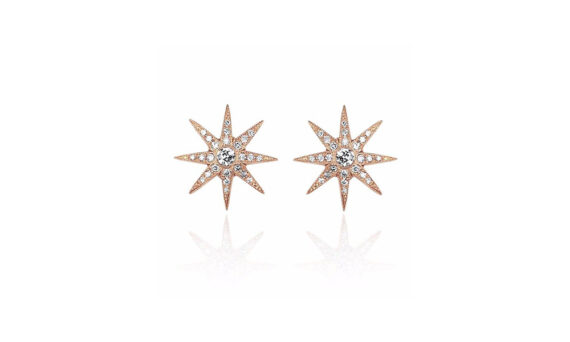 Colette Jewelry Pyxis Studs mounted on 18ct rose gold with diamonds