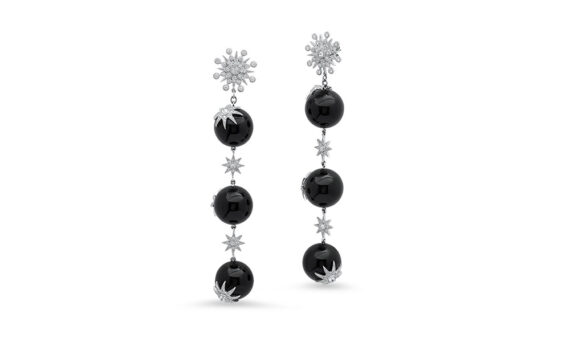 Colette Jewelry Star Ball Long earrings mounted on white gold with grey diamonds