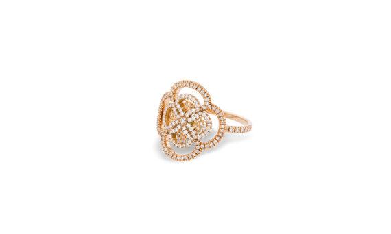 Eleuterio Blossom gold filigree diamond ring rose gold
