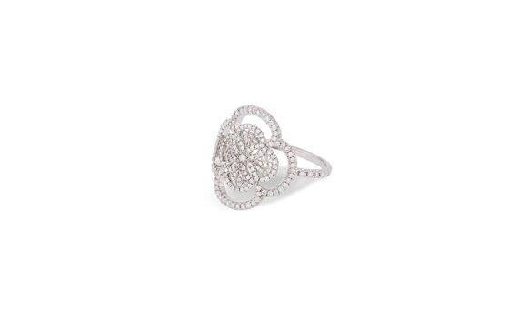 Eleuterio Blossom gold filigree diamond ring white gold