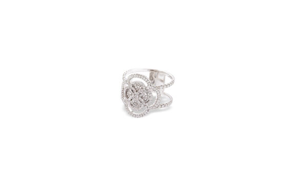 Eleuterio Blossom gold filigree double band ring white gold