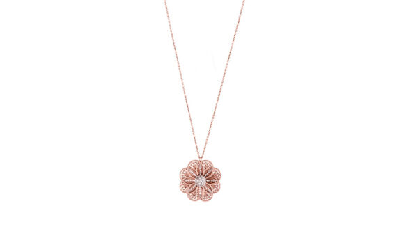 Eleuterio Blossom medium rose gold filigree necklace
