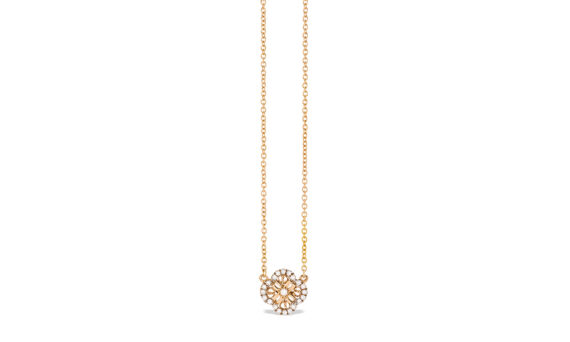 Eleuterio Blossom mini filigree necklace rose gold