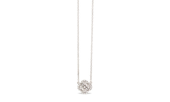 Eleuterio Blossom mini filigree necklace white gold