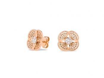 Blossom rose gold filigree studs