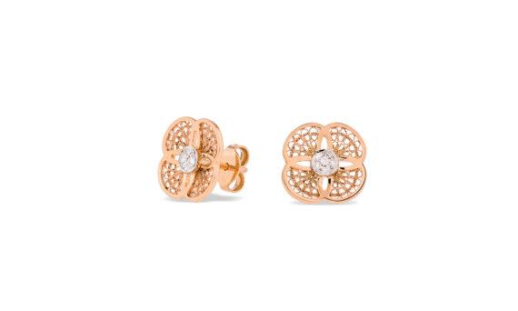 Eleuterio Blossom rose gold filigree studs with diamonds