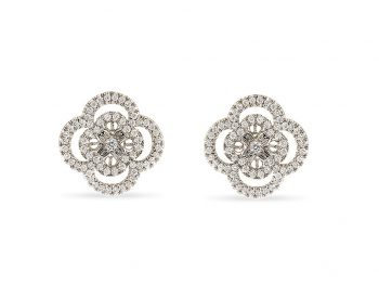 Blossom white gold filigree diamond studs