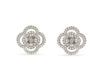 Blossom white gold filigree diamond studs