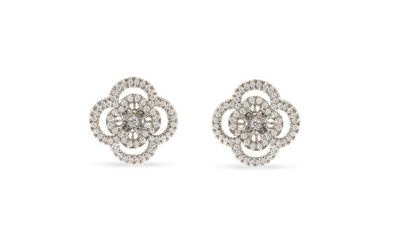 Eleuterio Blossom white gold filigree diamond studs