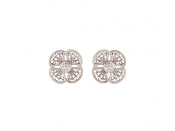Blossom white gold filigree studs