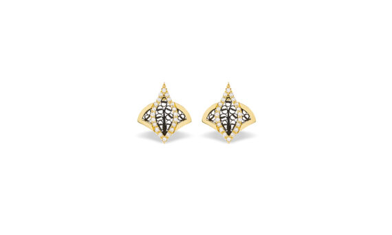 Eleuterio Couture yellow gold filigree studs