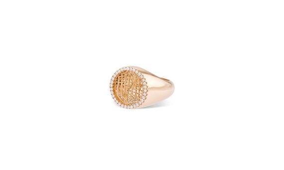 Eleuterio Dentelle gold filigree signet ring rose gold