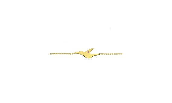 Enora Antoine L'envol pink sapphire bracelet mounted on 18ct yellow gold