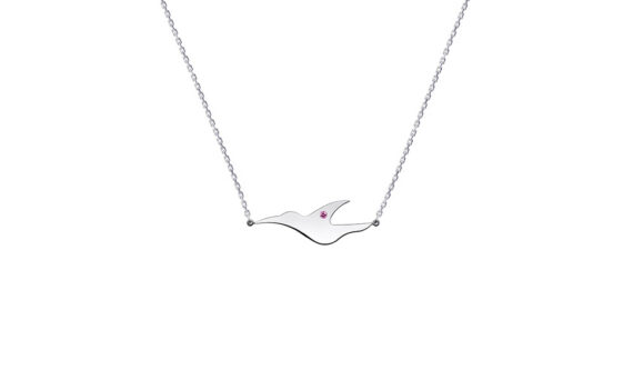 Enora Antoine L'envol pink sapphire necklace mounted on 18ct white gold