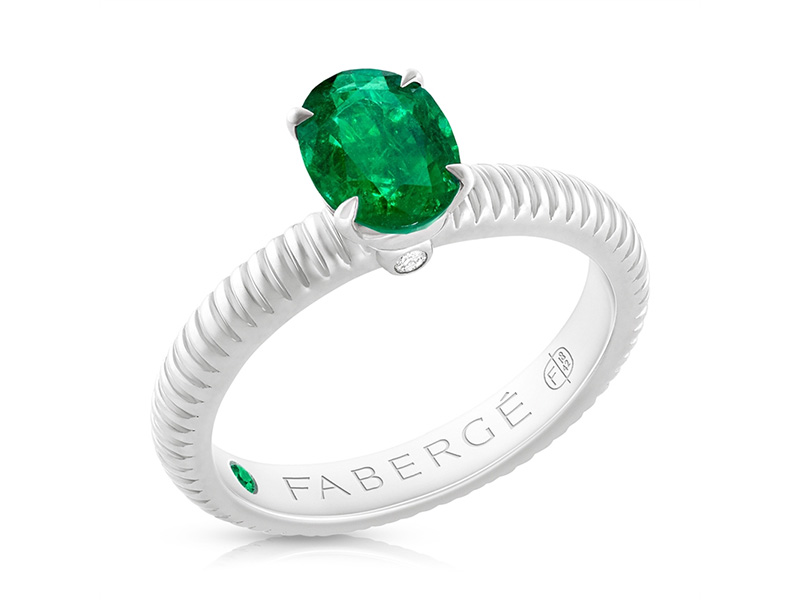 Fabergé Zambian Emerald White Gold Fluted Ring