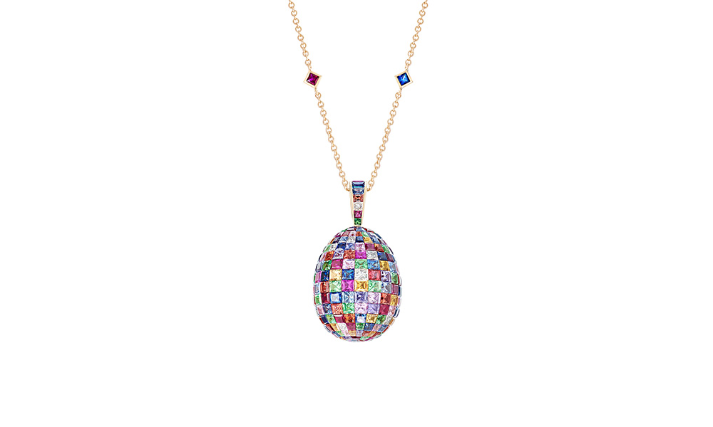 Fabergé Mosaic Multi-coloured Pendant from the Emotion collection features invisibly-set princess cut multi-coloured sapphires, Mozambican rubies, tsavorites and white diamonds, set in 18 karat yellow gold.