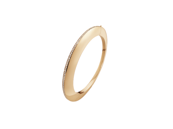 Georg Jensen Dune Bangle mounted on rose gold with cinnamon diamonds
