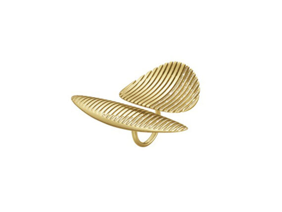 Georg Jensen Lamellae twin ring mounted on yellow gold with brilliant cut diamonds