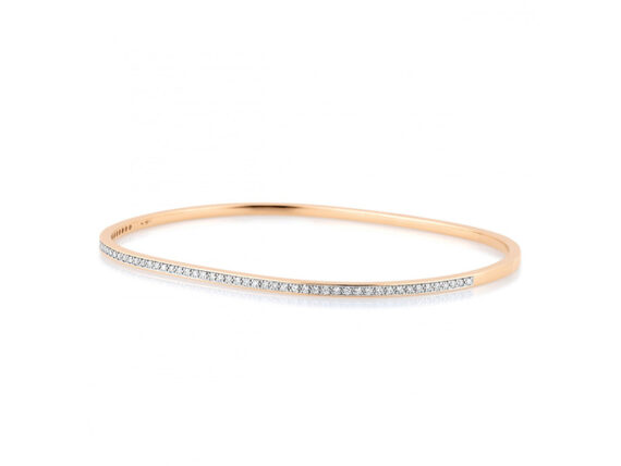 Ginette NY Diamond TV bangle mounted on rose gold with diamonds