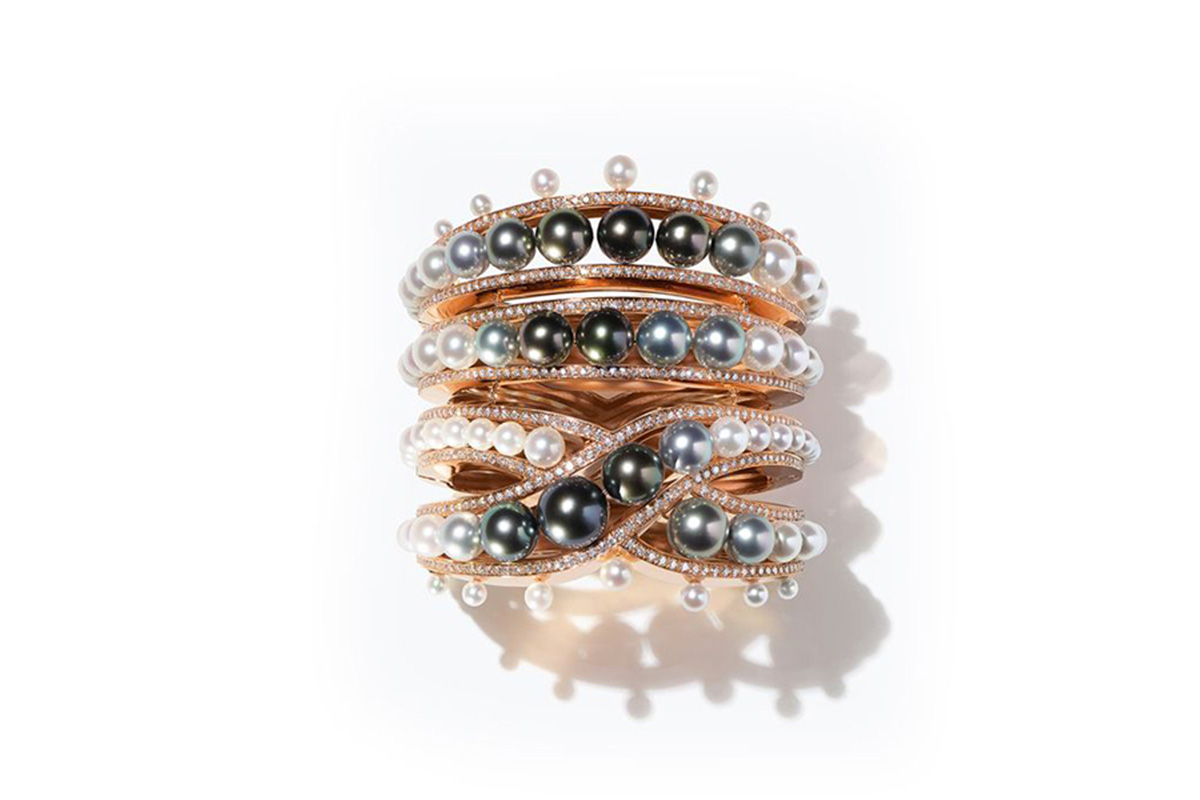 Hermes Ombres et Lumières Bracelet mounted on rose gold set with diamonds, south sea pearls and akoya pearls