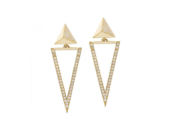 Ileana Makri Bermuda Triangle earrings mounted on yellow gold with white diamonds