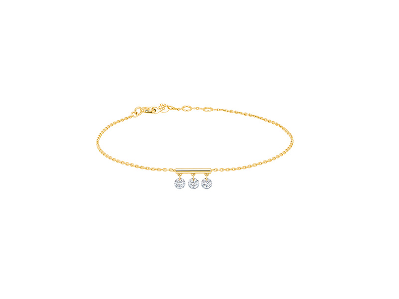 La Brune et La Blonde - Pampilles Bracelet with 3 diamonds mounted on yellow gold