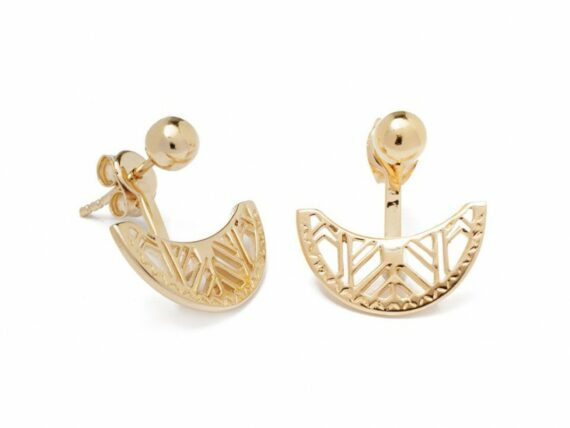 Lou Yetu Celeste half moon earrings mounted on gold plated ~ 40 Euros