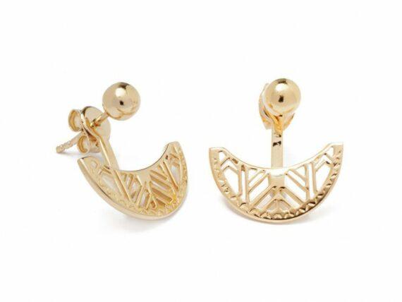 Lou Yetu Celeste half moon earrings mounted on gold plated ~ 40 Euros