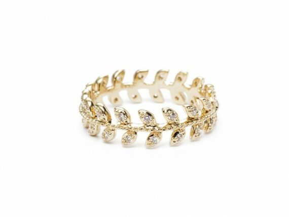 Lou Yetu Clayde ring mounted on gold plated with zirconia ~ 50 Euros