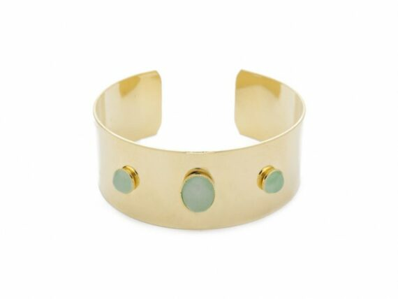 Lou Yetu Diana bangle bracelet mounted on gold plated with aventurine or rose quartz ~ 120 Euros