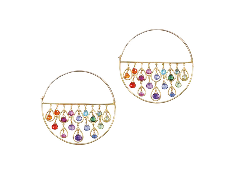"Marie-Hélène de Taillac ""Thousand and One Nights"" earrings mounted on yellow gold with a multitude of briolette cut stones"