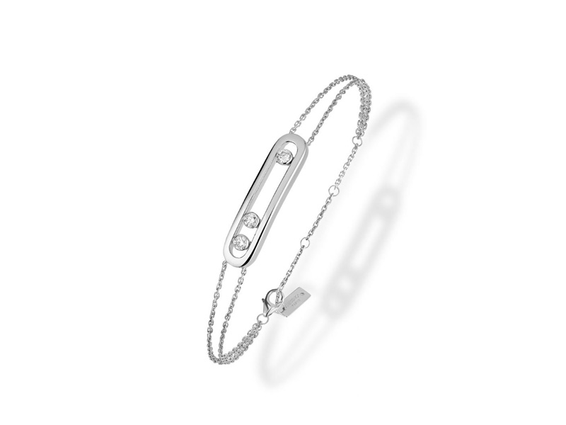 Messika Move Bracelet mounted on white gold set with three diamonds